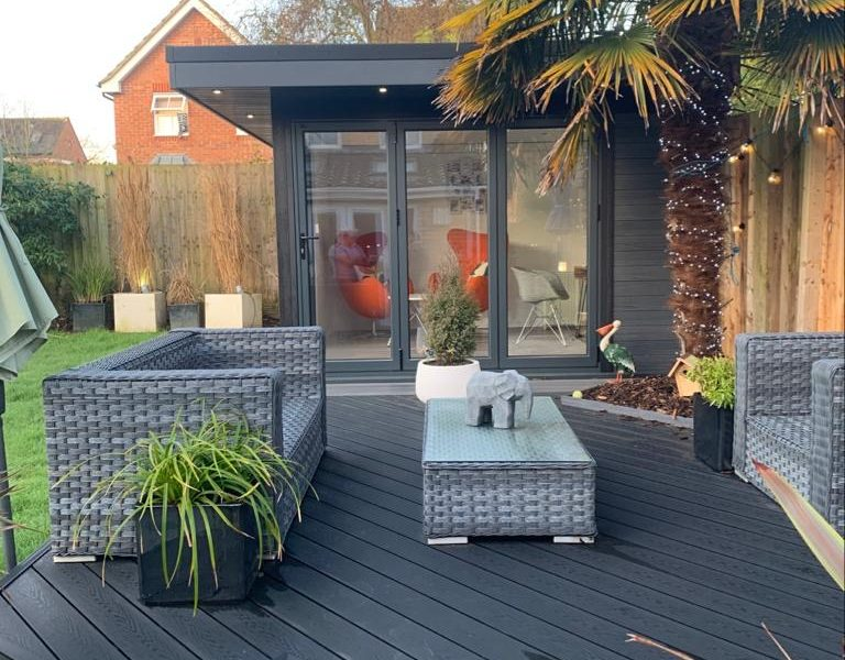 Garden Room In Bedford, With Composite Decking For Outdoor Seating Area
